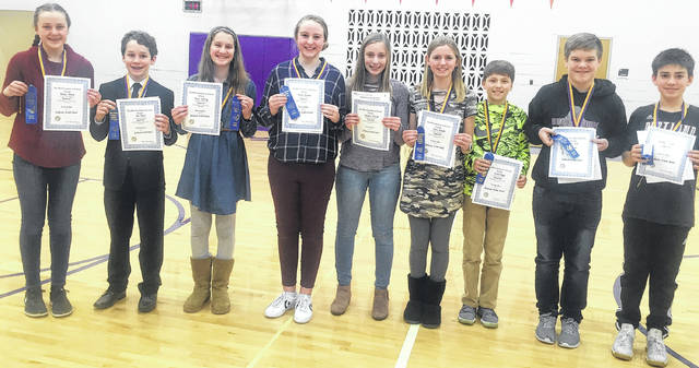 Submitted photos Nine Bellbrook Middle School students received 40 out of 40 points in the district's science fair Feb. 14: Grace Krane, Jon Pryor, Kaori Delsing, Emma DeWeese, Maddie Razics, Cate Lensch, Kaden Bogue, Sam Vine, and Aiden Smith