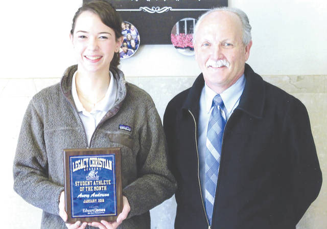 Avery Anderson was chosen as the Edward Jones Investments Athlete of the Month for January for Legacy Christian Academy High School. This award is being sponsored by the office of Mike Reed at Edward Jones Investments of Xenia, serving Xenia, Jamestown, Cedarville and surrounding areas. Anderson has been the varsity cheer captain for the last two years. She was a member of the 2017 softball team and is one of the favorite singers of the national anthem before basketball games at Legacy. Her grade-point average is an impressive 3.9.