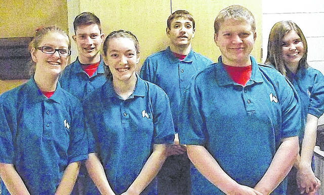 Submitted photo These Career X students volunteer at Soin Medical Center each week: Back row - Vitaly Seyler, Javier Ubinas, Abbie Thomas; Front - Kiersten Pugh, Abbie Vaughn and Mallory Rice. Jillian Tirpack is not pictured.