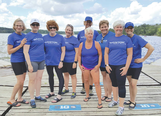 After a learn-to-row class and a novice season, rowers are ready to join the competition team. Here, the Dayton Boat Club women's eight celebrates after a race at the Indianapolis regatta in June 2017. Fairborn rowers on the team are: Marion Stout (third from left); and Vickie Schwab (second from right).