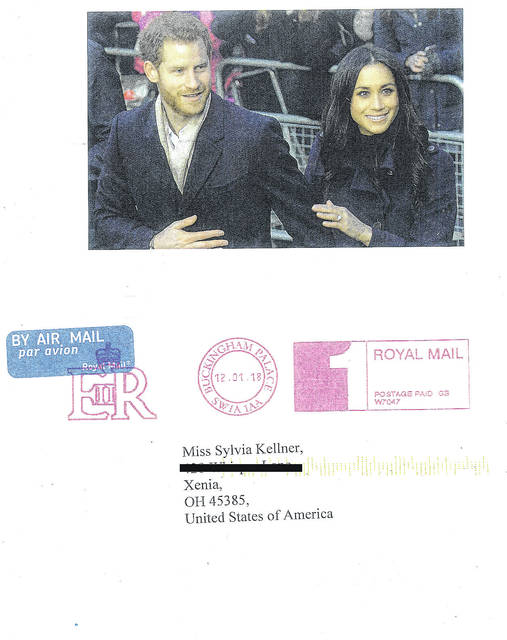 Submitted photo Xenia resident Sylvia Kellner received this thank you card from Prince Harry and his fiance, Meghan Markle. She sent the Christmas greetings.