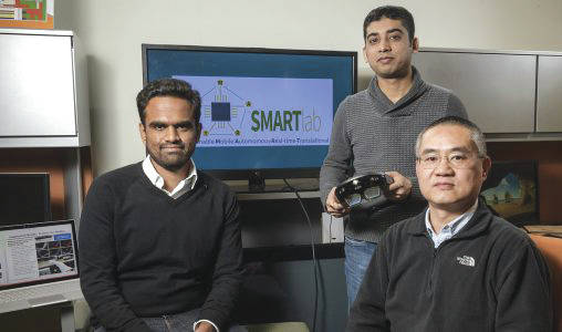 """Submitted photo From left: Wright State researchers Miteshkumar Vasoya, Ashutosh Shivakumar and Yong Pei designed an augmented-reality system designed that puts a """"doctor in the house"""" to help recovering surgery patients manage pain without painkillers."""