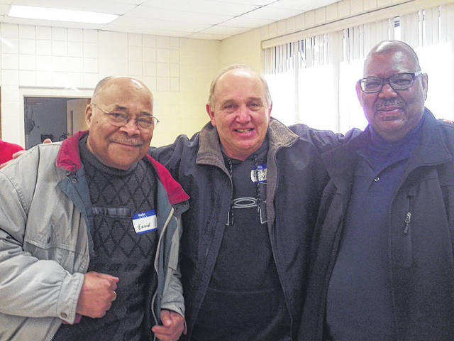 Deacon Eddie Scott of Glory Ministries Church is pictured with Greene County Sheriff Gene Fischer and Vermon L. Dillon of Glory Ministries Church attending the Xenia Christian Men Fellowship Breakfast.