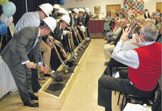 Scott Halasz | Greene County News Major stakeholders ceremoniously break ground on the new REACH Center, to be located at the corner of Progress Drive and Upper Bellbrook Road in Xenia. The 75,200 square-foot facility will replace the current Xenia Adult Recreation and Services Center and Xenia YMCA. The shared building complex will also house partners Kettering Health Network, Clark State Community College and Central State University.