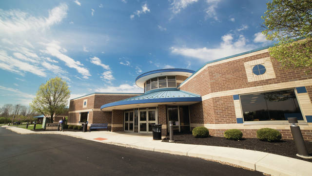 file photo The 75,200-square-foot shared building complex will share design features with the Huber Heights YMCA, pictured. The future building will be located on the corner of Progress Drive and Upper Bellbrook Road in Xenia.