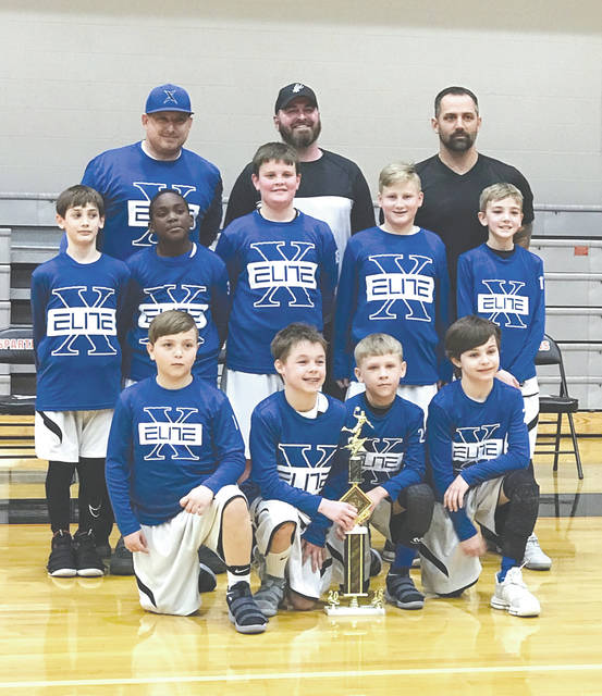 The Xenia Elite fourth-grade boys youth basketball team finished the season with a record of 32-9 of which they went 15-1 in Dayton Metro D3 League play and swept their postseason tournament, 4-0.  Members of the team are: Front row, kneeling — Anthony Butler, Lucas Williams, Laithan Partee, Cameron Salyers; Second Row — Matthew Kingsolver, DeAunte White, Louis Freeman, Cayden Jenkins, Eli Winegarner; Back Row Coaches — Brandon Salyers, Zach Freeman, and Jacob Kingsolver.