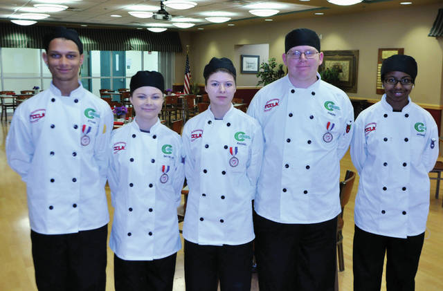 Submitted photos  Greene County Career Center juniors Ethan Gostel, Skelar Welsh, Rachel Commons, Joseph Stahl and Jasmine Underwood competed recently at the Family, Career and Community Leaders of America (FCCLA) regional skills competition at Sinclair Community College.