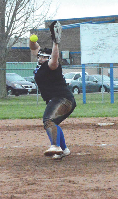 Sophomore pitcher Caity Moody fires a pitch to the plate during the fifth inning of Monday's April 2 high school softball game at Xenia High School. The Buccaneer hurler held Stebbins hitless over the final three innings of a 10-5 Bucs win.