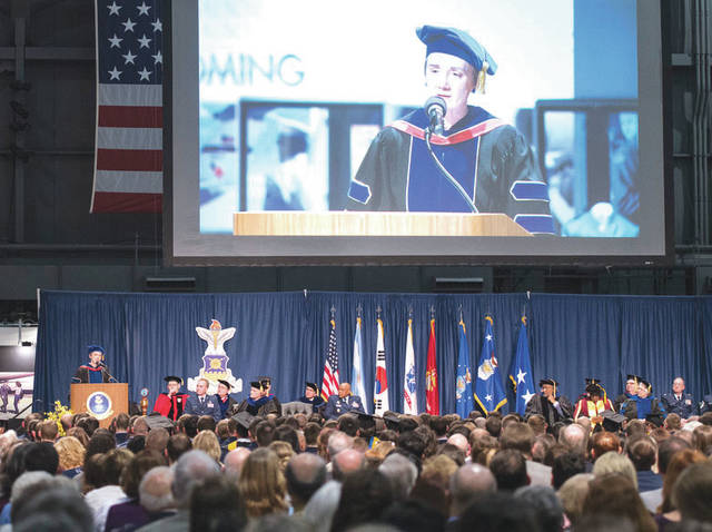 Submitted photo Secretary of the Air Force Heather Wilson gives remarks during the 2018 Air Force Institute of Technology Commencement Ceremony inside the National Museum of the United States Air Force March 22. AFIT is focused on providing exceptional defense-focused research-based graduate education.