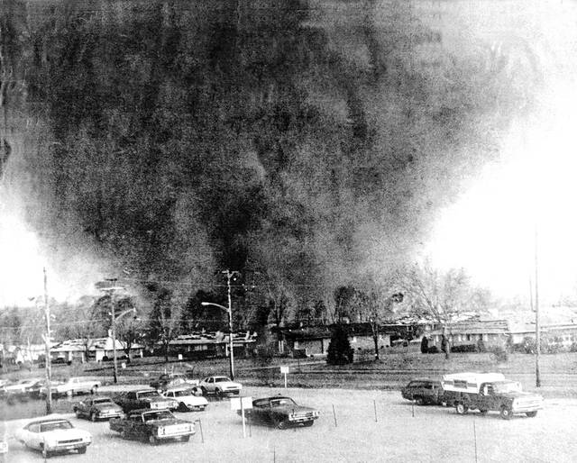 File photos The 1974 tornado heads toward Greene Memorial Hospital.