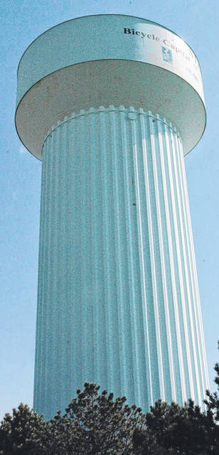 Scott Halasz | Greene County News The water tower on West Second Street has not been painted since its construction. City council approved a repainting project for it and the North Patton tower.