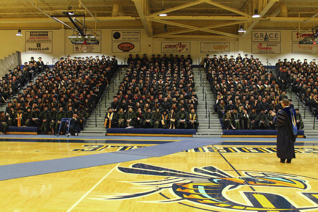 Anna Bolton | Greene County News Cedarville University President Thomas White addresses the Class of 2018 before commencement begins May 5. This year, 775 students received degrees during the ceremony held in the Doden Field House.
