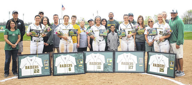 Submitted photo The Wright State University softball team seniors look forward to the Horizon League tournament.