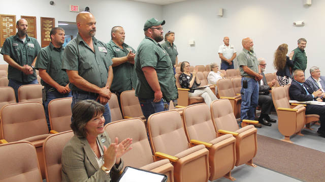 Anna Bolton | Greene County News Some members of County Services stand as they are recognized June 28 at the Greene County Commissioners meeting for their quick response to the recent Greenewood Manor accident.