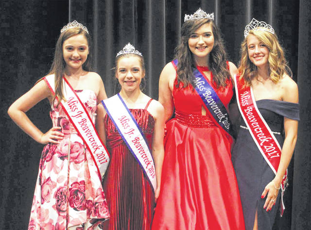 Submitted photo Pictured are the 2017 Miss Junior Beavercreek Isabella Lacey, 2018 Miss Junior Beavercreek Emily Kuchera, Miss Beavercreek 2018 Elianna Cade and the 2017 Miss Beavercreek Callista Hess.