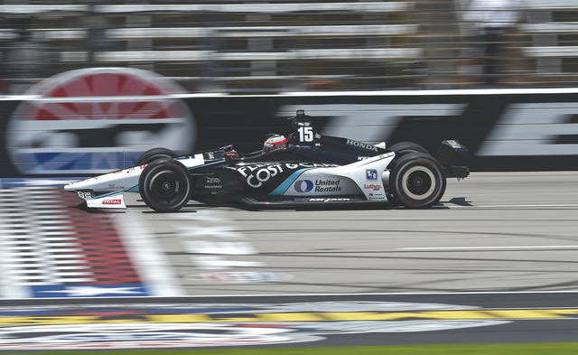 Graham Rahal streaks across the start-finish line during practice, June 8, at Texas Motor Speedway. He'll race at his home track — the Mid-Ohio Sports Car Course — when the series makes its return to the Lexington, Ohio facility July 29 for the Honda Indy 200.