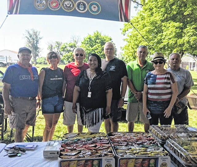 Submitted photo Xenia Elks Lodge 668 held their 5th Annual Veterans Appreciation Day July 14 at the Dayton VA Center for more than 80 residents that suffer from PTSD, alcohol or drug addiction. The event included a cookout, corn hole tournament, and entertainment by the Just-N-Tyme Band. More than 23 Elks members, families and friends participated in the event. Pictured: Tim Sease, Kim Lange, Gary McLaughlin, Karen Robinson, Jim Lange, Brent Avey, Linda McLaughlin and Ed Livesay.