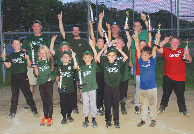 The Xenia Youth Recreation Club's (YRC) Mike Logan's Sales and Services team (green jerseys) won the Coach Pitch championship Saturday, June 30 at Bob Evans Field in Xenia. The team members of Mike Logan's Sales and Services are: first row, Laryssa, Chancellor, Eddie and Rowan. Second row, Elisha, Sarah, Jaxon and Jordan. The team was assisted by two members of the TJAR Innovations (red jerseys) team, S.J. and Cameron, and one member of the Portrait EFX (blue jersey), Aiden. Mike Logan's Sales and Services is coached by, L to R in back row, Coach Bradley, Coach Eltzroth, Head Coach Milburn, and Coach Williams. The coaches would like to thank all family and friends who helped the team to a successful season.