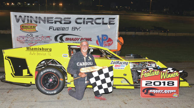 Mike Carroll of Cedarville won the 30-lap Biggins Small Engine Repair Modified feature race, Aug. 11 at Shady Bowl Speedway in DeGraff.