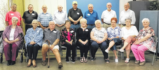 Submitted photo The Greeneview High School class of 1958 held its 60th reunion Aug. 18. First row, Donna Fulk Curtis, Marlene Cox, Bussie Ferguson, Margaret Carter Miller, Bonnie Stingley Wilson, Peggy Ary Newell, Linda Sesslar Louderback, Sandy Gorman Steward, and Joyce Lyons Goodwin. Back row, Bob Persinger, Russell Foster, Leon Bryan, Dick Patterson, Richard Reese, Dean Howard, John Burnett, and Dick Humphrey.