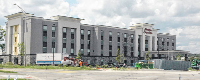 Scott Halasz | Greene County News The Hampton Inn & Suites is close to opening. But it may not happen in August according to the hotel owner.