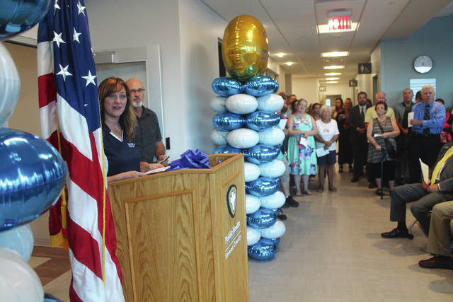 Anna Bolton | Greene County News Health Commissioner Melissa Howell addresses a crowd during the grand opening ceremony of Greene County Public Health's new facility Aug. 13.