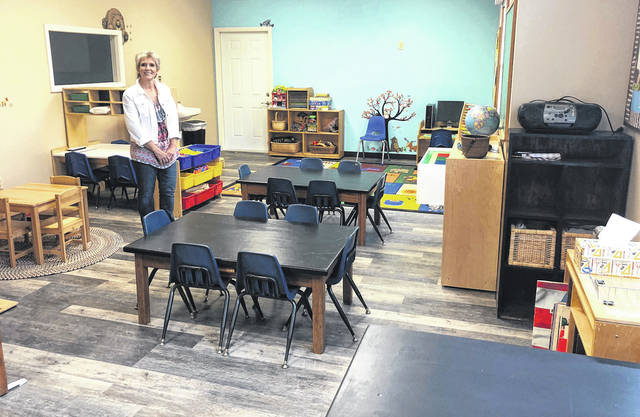 Scott Halasz | Greene County News Vicky Rose shows off the pre-kindergarten classroom at the Rosewood Learning Center.