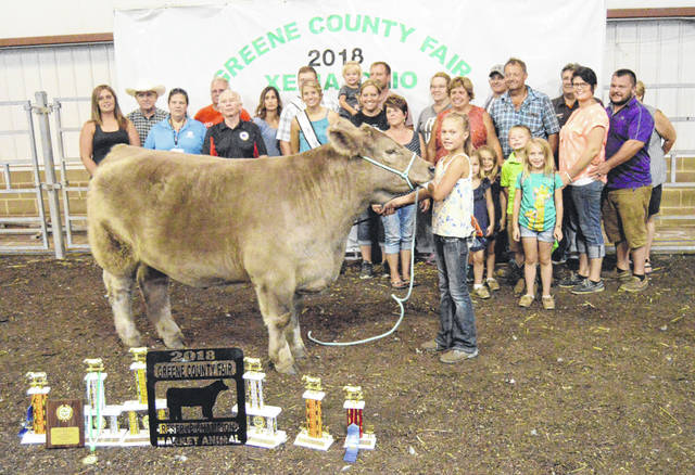 Reserve Champion Beef The Reserve Champion Market Beef was shown by Sydnee Hawkins and sold for $4,665 to Hawkins Farms – Keith, Barb, Lucas, Brittany, Bob Geyer County Engineer, Nick's, Don Wolf, Germain Ford, Carrie Belles DVM, Fisher Shop, McDonalds Feed, EJ & Jordan Hawkins Family, Sunrise Co-op, Dave Campbell Ins., Greene Co Cattlemen, Greene Co. Farm Bureau, Montgomery Ins., MVP Show Pigs, Kelly Jones Nationwide Ins., Jim Dandy Ins., Crosswind Farms – Dave & Vicki Elliott, TriAg Products, Ron & Diane Thomas, Collett Propane, Carrie Belles, Kroger, Reichley Insurance, Mike & Gayle Mueller, Scott Evans – Mayer Farm Equipment, Thompson Show Feed, Mayer Farm Equipment, Scott Harner, Copey's, Crabill & Newberry Family, Peoples Bank, Andy & Nancy Bledsoe, R&A Concrete, Donnie & Cheryl Kirk, Jim & Denise Percival, Jake Anders, John & Lisa Stalter, Ben & Tori Ankeney, Christian Bros., Wayne & Susan Krabbe, Greene Memorial Hospital, Rick Peters, Glen & Bonita Pence, Jamie & Tammy Horney, Buckminn's, Hawkins Family BBQ, Greene County Youth Activity Fund and Martin Family.