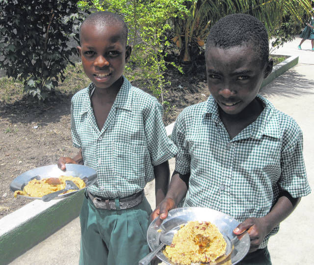 Students at the Becky DeWine School receive a meal a day — like this Haitian rice and beans.