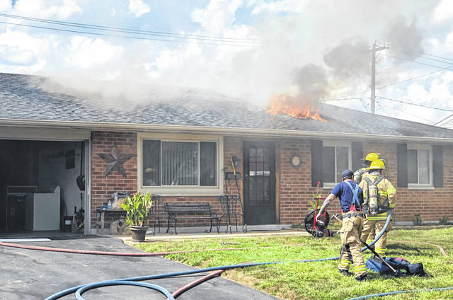 Photos courtesy Xenia Fire Division A fire on Seneca Drive Sept. 4 did extensive damage to this single-story home.
