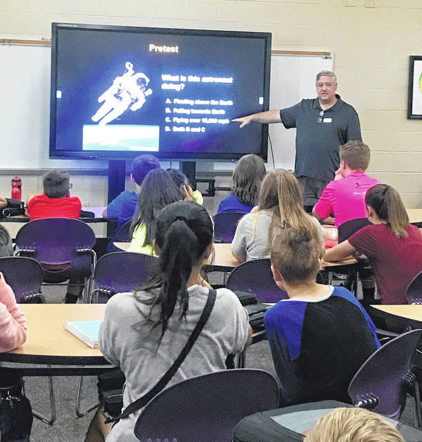Submitted photo Tim Slauenwhite, a long-time Air Force employee, spoke to Bellbrook students about space.