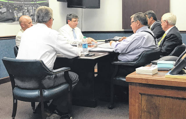 Anna Bolton | Greene County News Commissioner Tom Koogler (front), Jail Administrator Maj. Kirk Keller, HDR consultant David Bostwick, County Administrator Brandon Huddleson and Commissioners Alan Anderson and Bob Glaser discuss a jail needs assessment during a Sept. 6 work session.