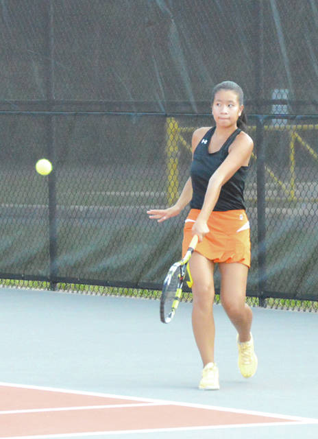 Julia Bays claimed the lone Beavercreek singles win with a 6-0, 6-0 win over Bellbrook's Nitika Arora, Sept. 18, on the Beavercreek High School tennis courts.