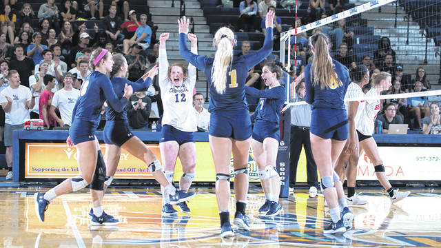 Submitted photo The Yellow Jackets swept Great Midwest Athletic Conference foe Davis & Elkins in women's college volleyball, Sept. 25 at Cedarville University's Callan Athletic Center.