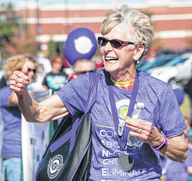 Submitted photos Cancer survivor Patty Davis of Fairborn attends a recent Circle of Victory walk that she helped start 25 ears ago.