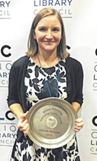 Submitted photo Greene County Public Library Youth Services Librarian Amanda Marquart is the 2018 recipient of Ohio Library Council's Diana Vescelius Emerging Leader Award.