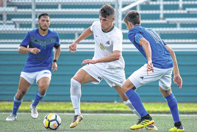 Submitted photo Wright State University's Deri Corfe picks up a goal in an NCAA men's college soccer match, Oct. 2 at Charlottesville, Va.