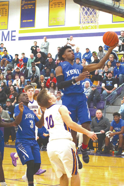 Xenia senior Samari Curtis, shown here in a 2017-'18 season game in Bellbrook, is headed to the University of Cincinnati after graduation. The 3-star standout and his Xenia Buccaneer teammates will play Dec. 1 in the Ohio Valley Hoops Classic in Hillsboro.
