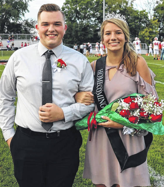 Submitted photo Grace Smith was named Cedarville's homecoming queen during ceremonies Sept. 21 at the football game. She is pictured with her escort, Ryan Allex.