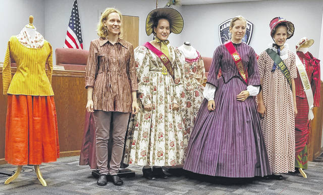 Submitted photo Historian Leslie Arendt presented Changes in Women's fashion 1750 to 1880 at the Jamestown public library Oct 9. Models wore a variety of clothes from that era.