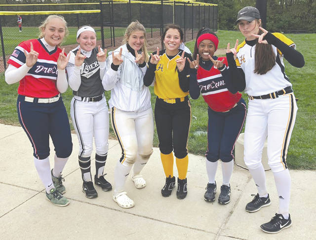 Wright State University's 2019 recruiting class met up with each other at an amateur fast-pitch tournament earlier this year. Grace Gressley, Cameron Wesley, Olivia Bricker, Ernestine Hursey, Payton Baxter and Emily Daniel have signed national letters of intent to play for the Raiders next season.