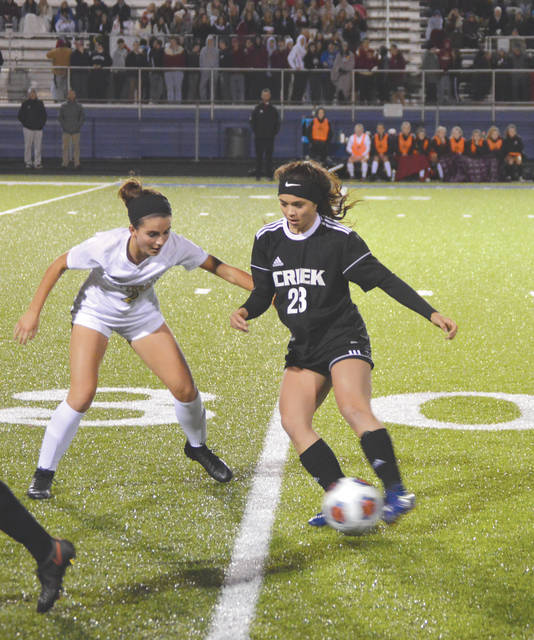 Marcella Cash (23) scored both of Beavercreek's goals in Tuesday night's 2-1 Division I state semifinal win at Evans Stadium in Springfield.