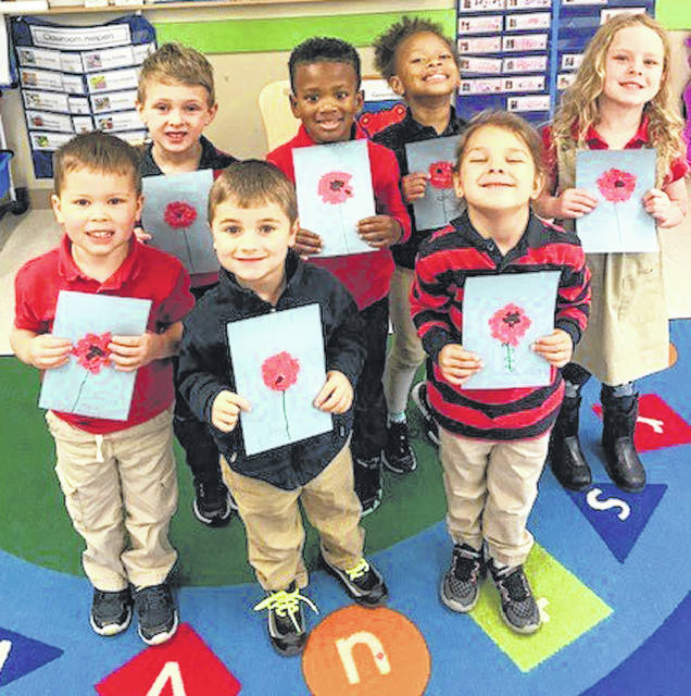 Photos courtesy of Primrose Schools Preschool students at Primrose School of Beavercreek made patriotic cards last week. They sent the cards to the Dayton VA Medical Center in honor of Veterans Day.
