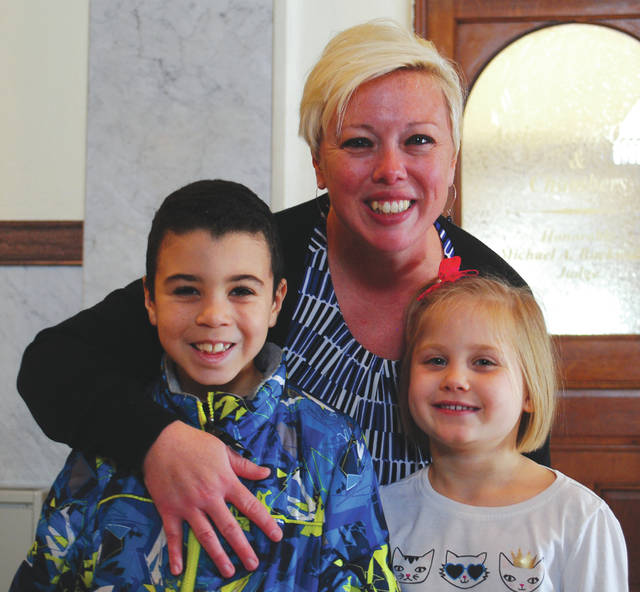 Xenia Mayor Sarah Mays and her children, 7-year-old Freddy and 6-year-old Layla.
