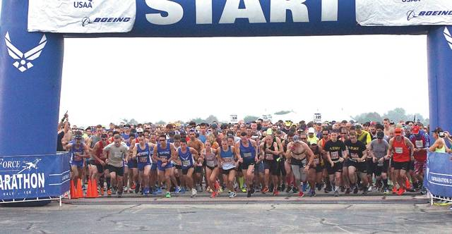 File photo The 23rd Air Force Marathon is scheduled for Saturday, Sept. 21, 2019. The event will also feature a Sports and Fitness Expo at Wright State University's Nutter Center scheduled for Thursday, Sept. 19 and Friday, Sept. 20 plus a Breakfast of Champions and Gourmet Pasta dinner scheduled for Friday, Sept. 20. For more information go to www.usafmarathon.com.