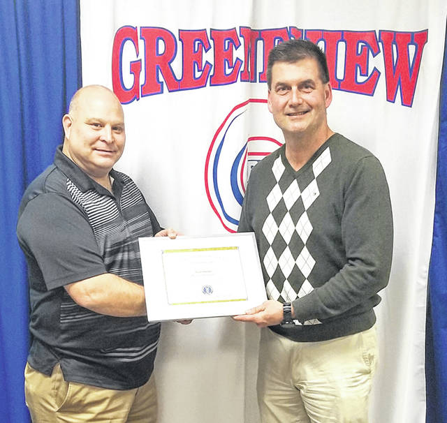 Submitted photo Scott Halasz is pictured in the photo with Greeneview Board President Todd Ireland.