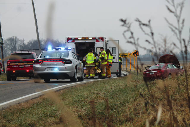 Anna Bolton | Greene County News State Highway Patrol troopers, a Greene County Sheriff's deputy, a Cedarville Police officer and Cedarville Twp. Fire Department medics respond to a two-vehicle head-on collision on State Route 72 in Cedarville the morning of Dec. 13.