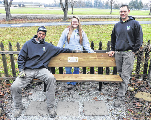 Photos courtesy GCP&T Greene County Parks & Trails Maintenance Supervisor Dave Dudgeon, team member Briana Trangenstein and Maintenance Lead Grant Burtch renovate a bench in the butterfly garden at James Ranch Park celebrating the life of Ryan Thomas Manley.