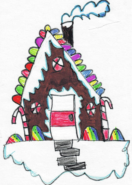 Submitted photos Xenia Preschool and elementary school students drew holiday-themed art which the district used on its Christmas card. Pictured is artwork done by McKinley first grader Brynna Ashworth.