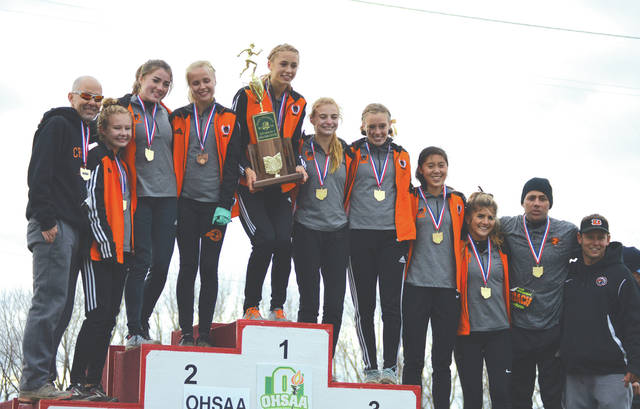 The Beavercreek High School girls cross country team celebrates its state title on the victory podium, Nov. 10 at National Trail Raceway in Hebron.